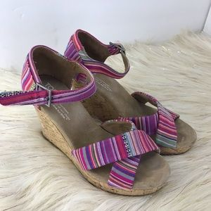 Toms canvas multicolored pink strapy wedges EUC 6W